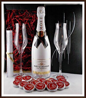 Geschenk Champagner Moet & Chandon Ice Imperial 2 Gläser 20 Edel Schokoladen