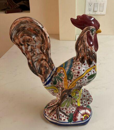 Large Vintage Hand Painted Ceramic Rooster Figurine