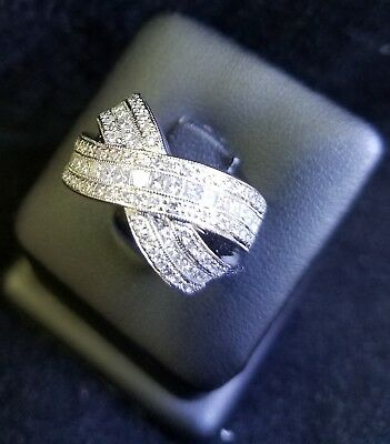 Gorgeous 18 KT White Gold Cocktail Ring Invisible Setting Diamonds Knot Jewelry