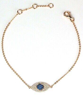 Evil Eye Bracelet with Diamond in 14k Rose,White or Yellow Gold ( Dia. (Diamond Evil Eye Bracelet)