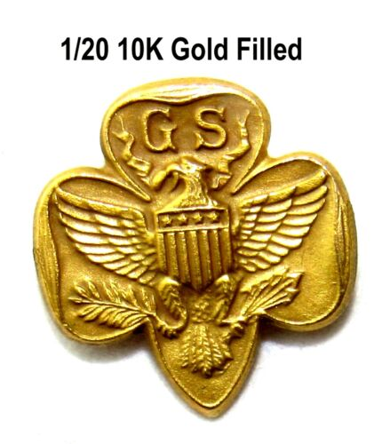 GOLD FILLED Type 5 SPECIAL FULL SIZE Girl Scout MEMBERSHIP PIN CHRISTMAS GIFT