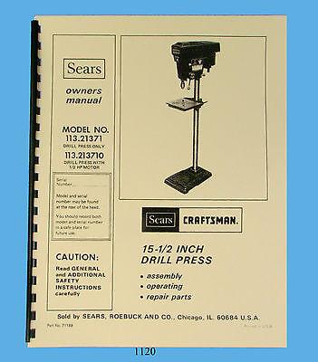 Sears Craftsman Drill Press 113.21371 113.213710 Operation Parts Manual 1120