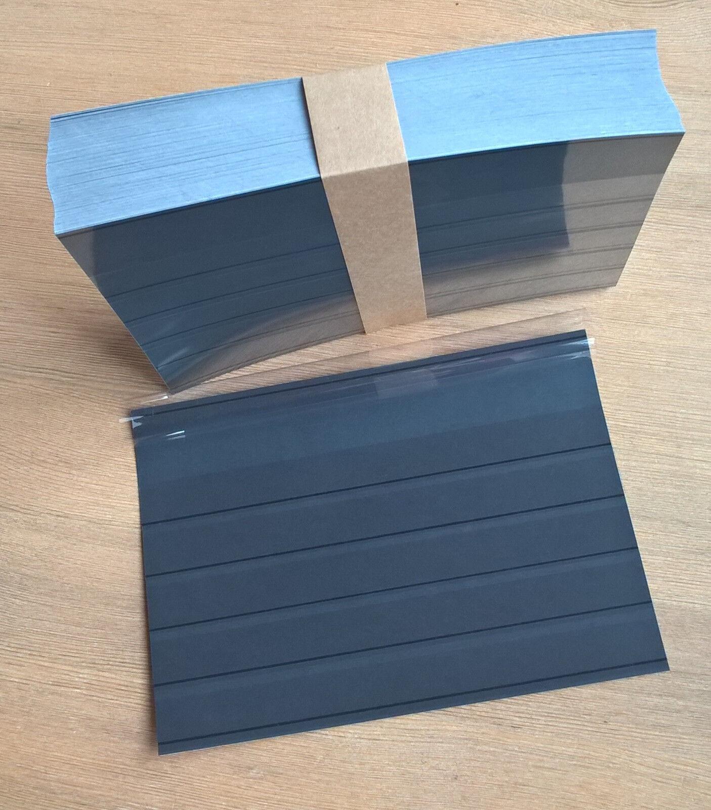 25, 50,100, 500 Einsteckkarten / Steckkarten A5 mit Deckfolie, 5 Streifen