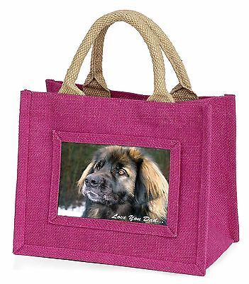 Leonberger Dog 'Love You Dad' Little Girls Small Pink Shopping Bag Ch, DAD-68BMP