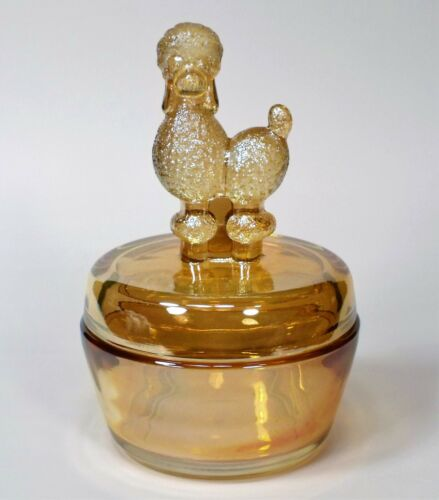 EXCELLENT 1940 JEANNETTE FRENCH POODLE VANITY POWDER JAR MARIGOLD CARNIVAL GLASS