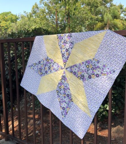 Big Star Baby Quilt - Purple & Yellow Flowers Dots - Handmade USA