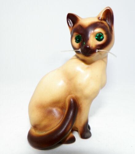 Vintage Siamese Cat w/Green Rhinestone eyes Salt & Pepper Shaker SINGLE