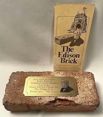 Brick From The Kiln Of Thomas Alva Edison New Village, NJ - Erected 1903 w/Cert