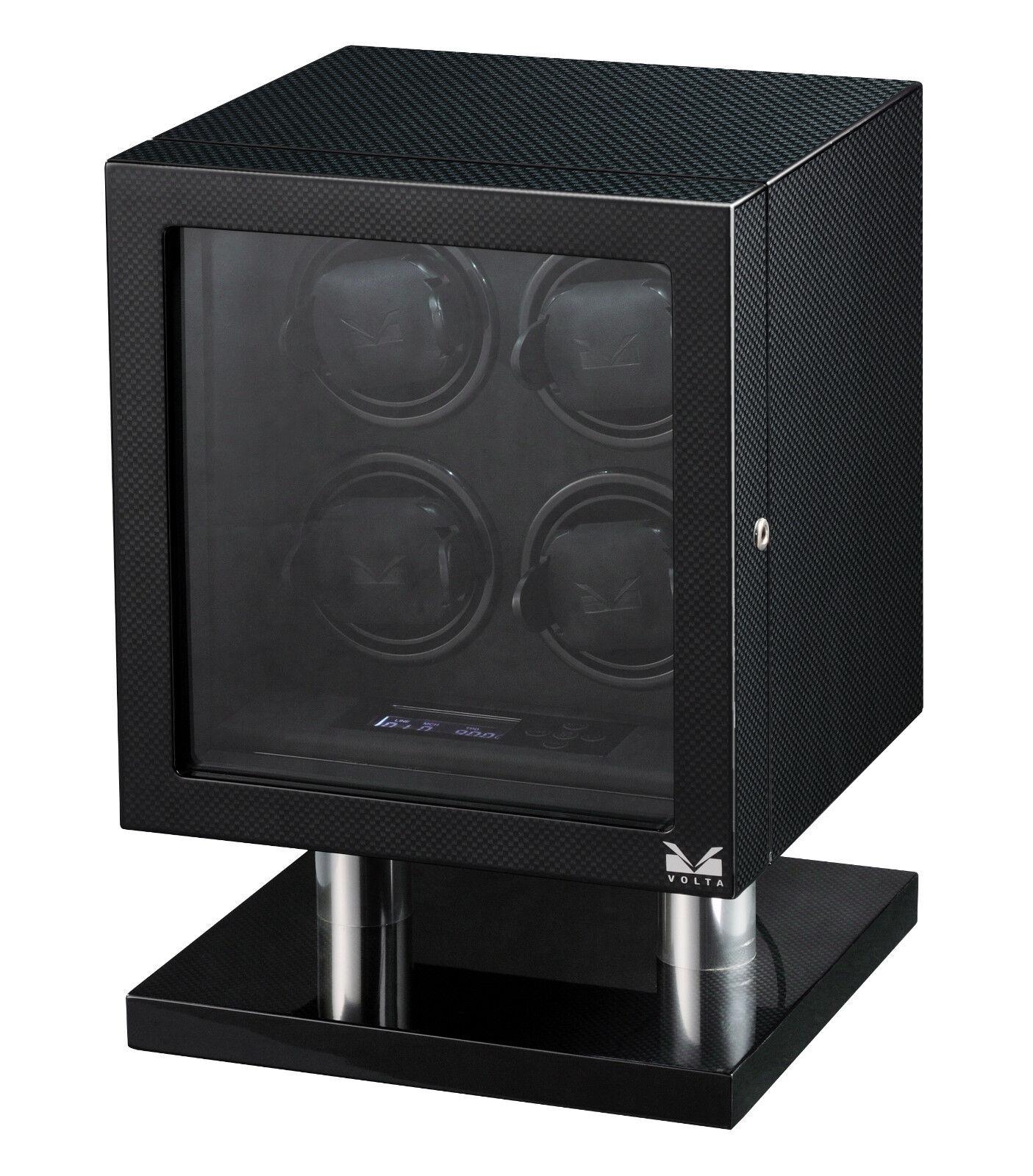 Volta Quad 4 Watch Winder Box Carbon Fiber w/ LCD Lighting L