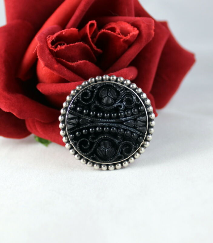 Sterling Silver Ornate Black Cinnibar  Pin / Pendnat CAT RESCUE
