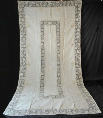 "Antique Italian Filet Linen Tablecloth With Embroidery, Banquet Size  134"" x 68"""