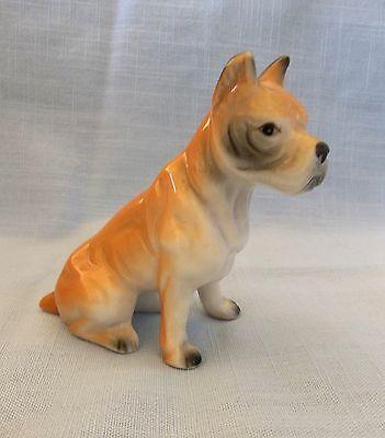 """Vintage Ceramic, Porcelain Sitting Boxer Dog Figurine 3 1/4"""" High"""