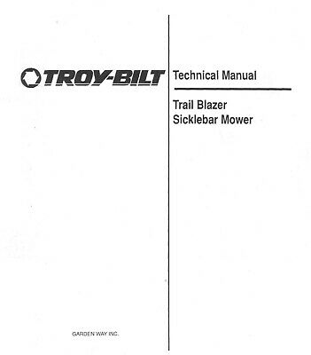 1990 Troy Bilt Trail Blazer Sicklebar Mower Technical Repair Manual