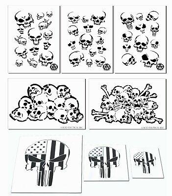 Skull Airbrush Painting Stencil Kit Set of 8 stencils Skeleton Bones & -