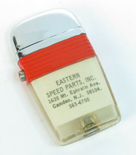 Retro 1960s Scripto See Through Red Vu Lighter Advertising Eastern Speed Parts