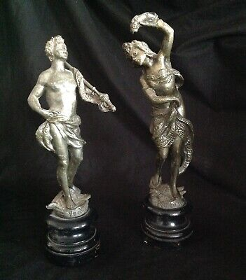 ANTIQUE FRENCH PAIR SPELTER FIGURINES FISHERMAN & FISHERWOMAN