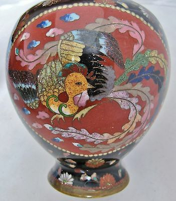 "Antique Japanese Meiji Goldstone Cloisonne Vase with PHOENIX & DRAGON  (7.45"")"