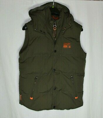 Superdry Men's Vest Size Small Khaki Padded Sleeveless Jacket Quilted Gilet