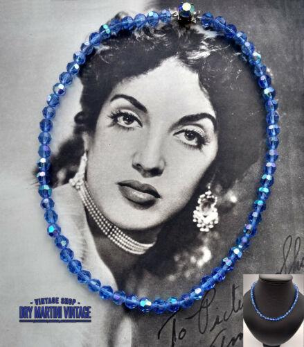 VINTAGE 1950s DECO BLUE AURORA BOREALIS CRYSTAL NECKLACE RETHREADED BRIDAL GIFT
