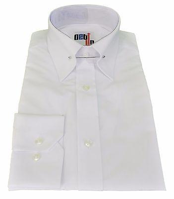 (Retro Mod White Cotton PIN Collar Shirts …)