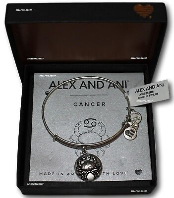 NEW SEALED Alex and Ani CANCER III Russian Silver Bangle New Tag+Card+Box Zodiac
