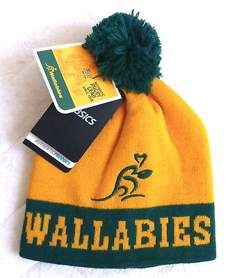 b532ee51c4e ASICS Wallabies AUSTRALIA RUGBY BOBBLE POMPOM HAT Toque Beanie Tags OSFA