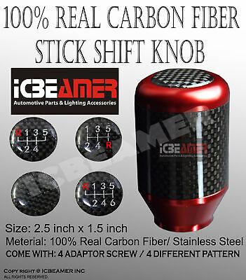 JDM Red Aluminum w/ Carbon Fiber Manual Gear Stick Shift Knob 5 6 Speeds C3 comprar usado  Enviando para Brazil