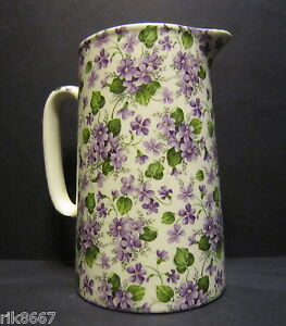 Heron Cross Pottery VIOLET Chintz English 2 Pint Milk Ju