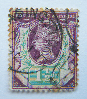 GB 1887 - 1892 QV 50th Anniversary 1 1/2d Violet/Green Used.