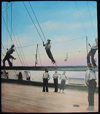 Glass Magic Lantern Slide BOYS TRAINING SHIP CLIMBING ROPES C1910 PHOTO