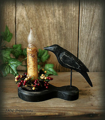 Primitive Crow & Grungy Auto Timer Candle Set W/ Choice Of Pip Berry Ring