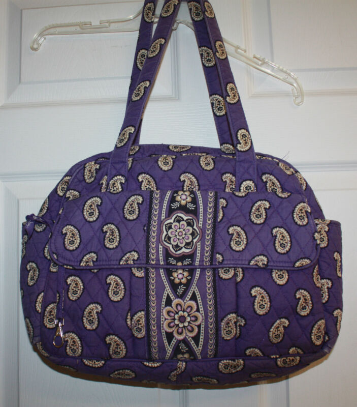 Vera Bradley Simply Violet Purple Paisley Diaper Bag Tote  w/Changing Pad