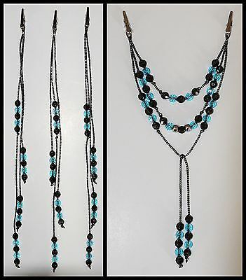 WOW!!  Horse Tail / Mane Beads Bling, Arabian, AQHA, Friesian, etc. BLACK / TURQ