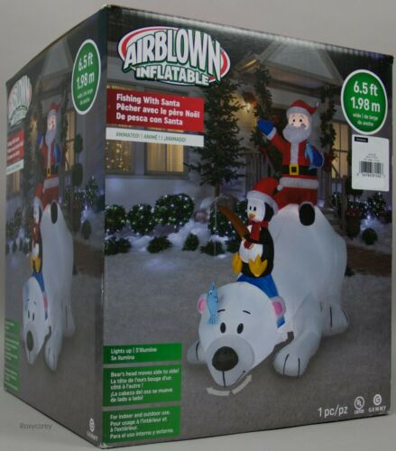 Christmas Gemmy 6.5 ft Lights Up Animated Fishing with Santa Airblown Inflatable
