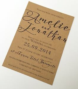 50 Personalised Wedding Invitations Day Or Evening Typography Rustic New