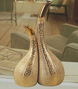 2 Tlg. DEKOARTIKEL MODERN DEKORATION DEKO WERBEFIGUR AUFSTELLFIGUR BC-1274 Gold