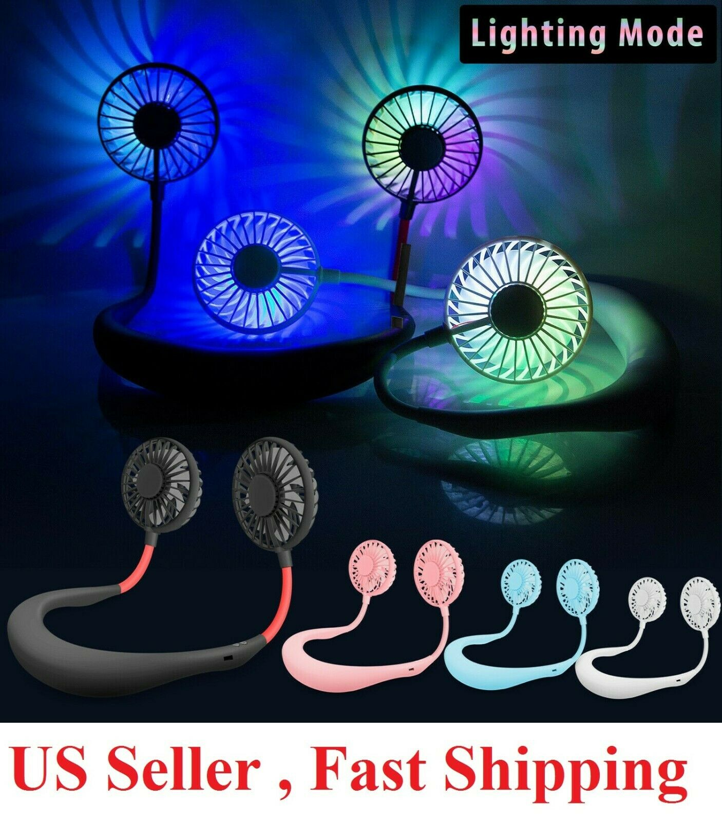 Portable Rechargeable Neckband Neck Hanging Dual Cooling Mini Fan Personal LED , Heating, Cooling & Air