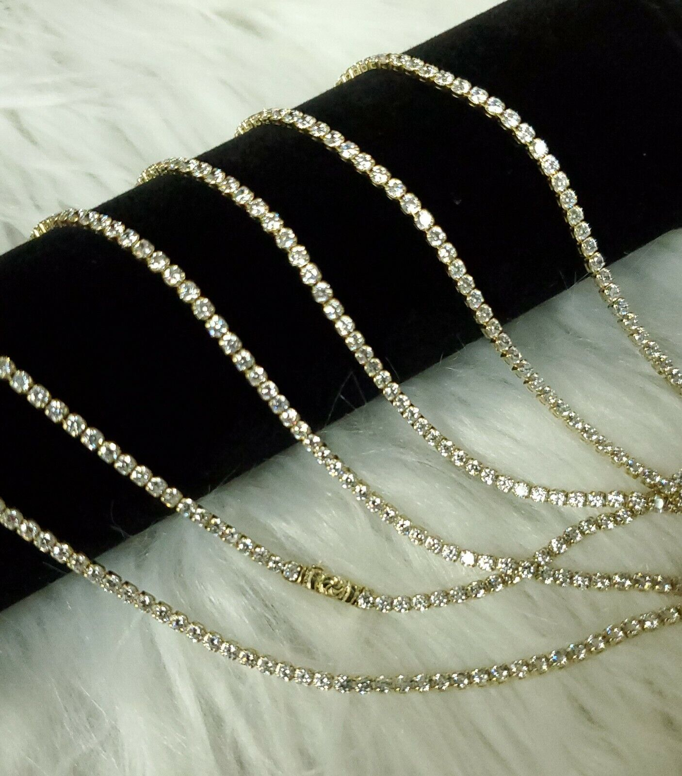 10k Genuine Yellow Gold 2mm Tennis Chain Bracelet Necklace Manmade Diamond Iced