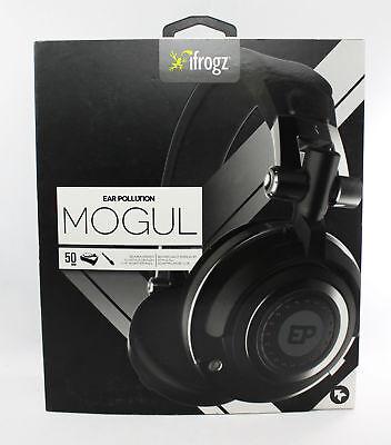 iFrogz Headphones EarPollution Mogul Foldable Pro DJ Style 50mm Driver - Black