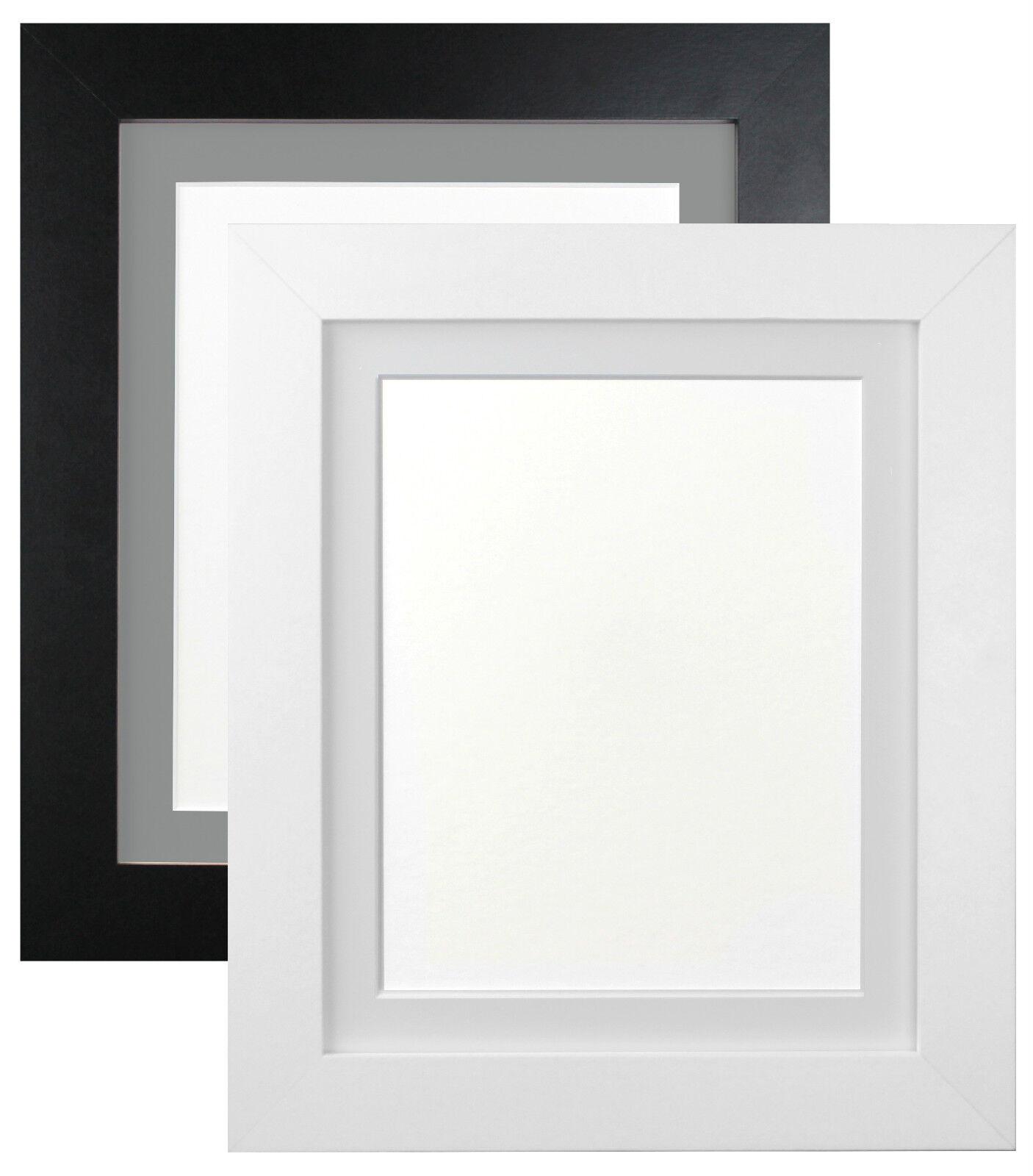 metro white black quality photo picture frames with dark or light grey mounts - Metro Frames