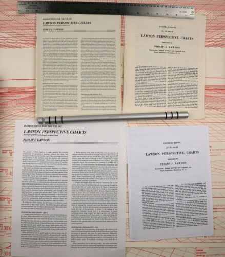 Orig. Lawson Perspective Charts Set of 8 Rare Drafting Tool Posters (2 Manuals)
