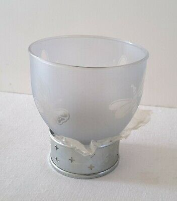 Frosted Votive Candle Holder W/Etched Butterfly/Dragonflies 3.5