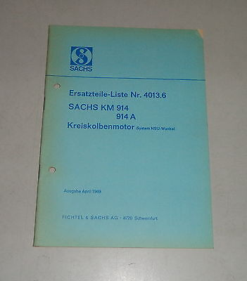 Parts Catalog/Spare Parts List Sachs km 914/914A Wankel Engine - Stand 04/1969, used for sale  Shipping to United States