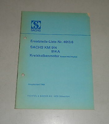 Parts Catalog/Spare Parts List Sachs km 914/914A Wankel Engine - Stand 04/1969 for sale  Shipping to United States