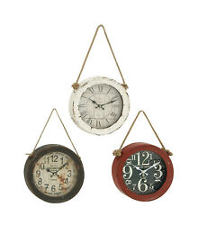 Zimlay Rustic Iron Set Of 3 Wall Clock With Hanging Jute Rope 52541