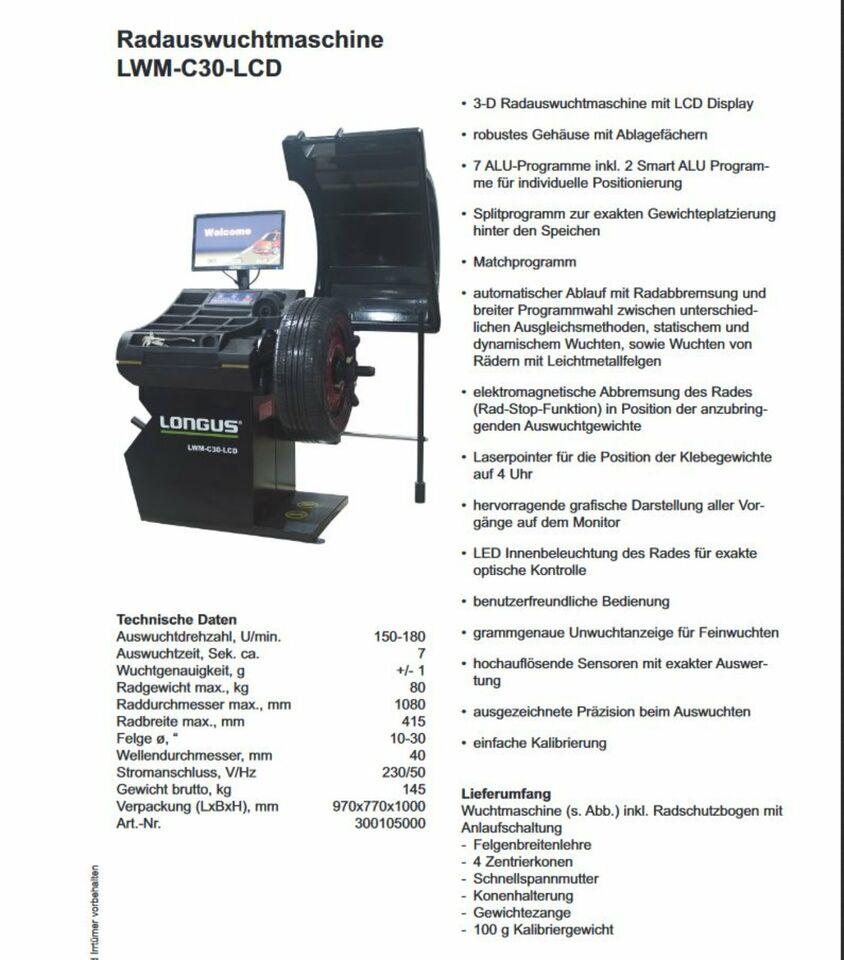 Radauswuchtmaschine Longus LWM-C30-LCD in Köln