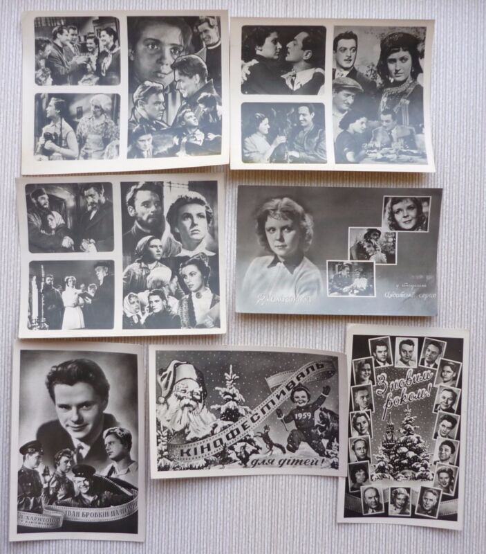 Set+of+7+Vintage+Russian+Soviet+Cinema+Movie+Film+Poster+postcard+1950s