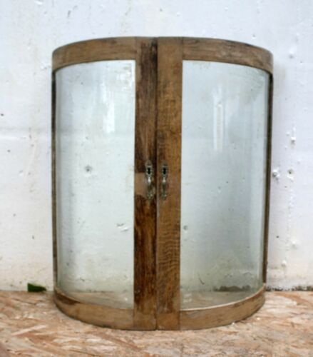"""Pair 16""""x27 Antique Vintage Old Oak CURVED Bowed Wavy Glass Cabinet Doors Window"""