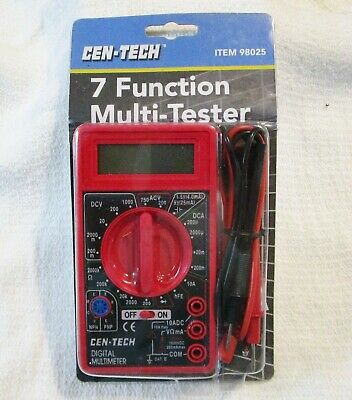Cen-tech 7 Function Digital Multi-tester Multimeter Item 98025