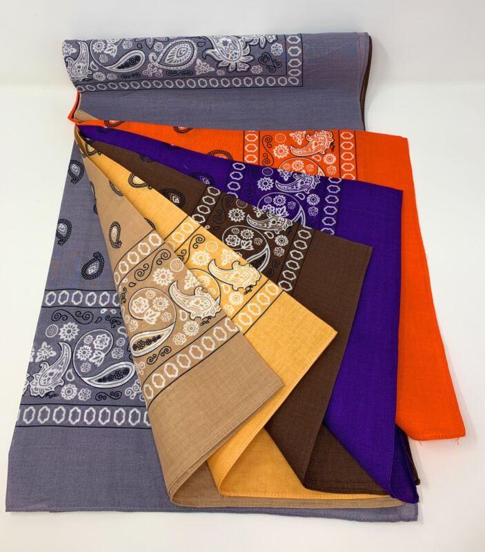 LOT OF 6 PCS Mix Color Bandana Head Wrap Scarf 100% Cotton Big 27x27in(6 Color).
